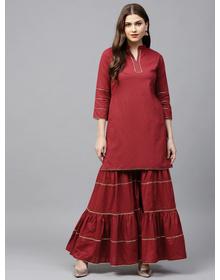 Bhama Couture Women Maroon Solid Kurta with Sharara