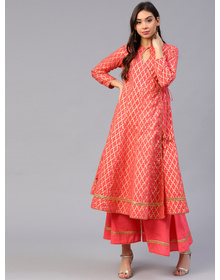 Bhama Couture Women Coral Pink & Golden Printed Kurta with Palazzos
