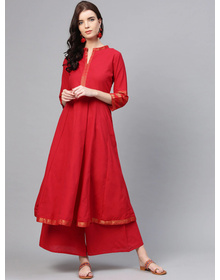 Bhama Couture Women Red Solid Kurta with Palazzos