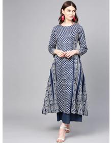 Bhama Couture Women Navy Blue & White Printed Kurta with Palazzos