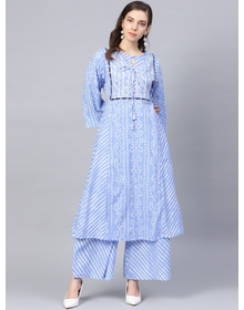 Bhama Couture Women Blue & White Bandhani Printed Kurta with Palazzos