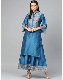 Bhama Couture Women Blue & Golden Yoke Design Silk Kurta with Palazzos