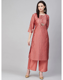 Bhama Couture Women Peach-Coloured Embroidered Kurta with Palazzos