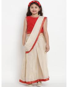 Bitiya by Bhama Girls Beige & Red Art Silk Solid Chanderi Saree