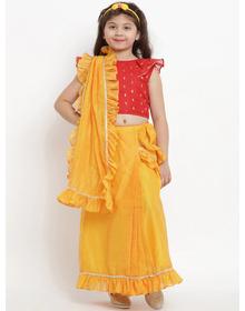 Bitiya by Bhama Yellow & Red Pure Cotton Solid Chanderi Saree