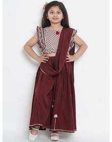 Bitiya by Bhama Maroon & Cream-Coloured Poly Crepe Printed Saree