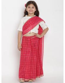 Bitiya by Bhama Girls Fuchsia & Off-White Checked Chanderi Silk Saree With Printed Blouse