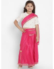 Bitiya by Bhama Girls Fuchsia Solid Chanderi Silk Embellished Saree With White Blouse