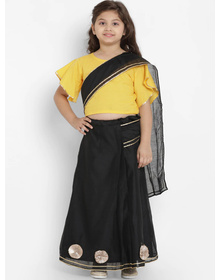 Bitiya by Bhama Girls Yellow & Black Solid Gotta Patti Silk Saree Blouse With Saree