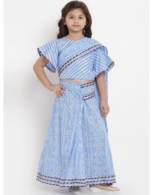 Bitiya by Bhama Girls Blue & White Printed Bandhej Saree With Blouse