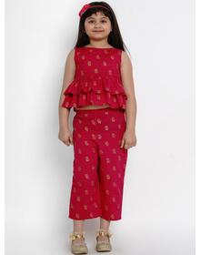 Bitiya by Bhama Girls Red Printed Top with Palazzos