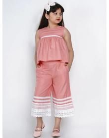 Bitiya by Bhama Girls Peach-Coloured & White Solid Top with Palazzos