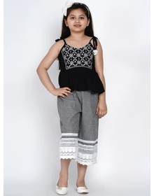 Bitiya by Bhama Girls Black & White Embroidered Top with Palazzos