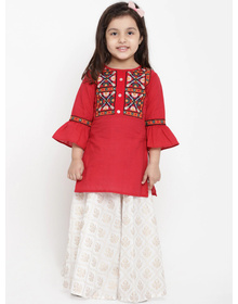 Bitiya by Bhama Girls Red & White Embroidered Tunic with Skirt