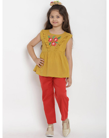 Bitiya by Bhama Girls Mustard Yellow & Red Solid Top with Trousers