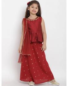 Bitiya by Bhama Girls Maroon Solid Top with Skirt