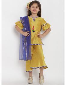 Bitiya by Bhama Girls Mustard Embellished Top with Palazzos