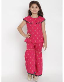 Bitiya by Bhama Girls Pink & Gold-Toned Printed Top with Palazzos