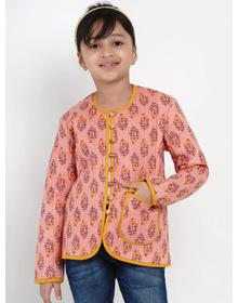 Bitiya by Bhama Girls Peach & Mustard Yellow Printed Open Front Jacket