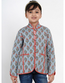 Bitiya by Bhama Girls Grey Printed Tailored Jacket