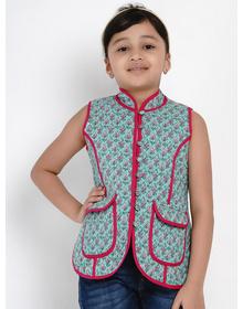 Bitiya by Bhama Girls Green & Pink Printed Tailored Jacket