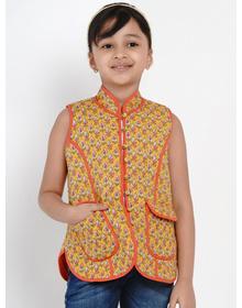 Bitiya by Bhama Girls Mustard Yellow Printed Tailored Jacket