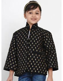 Bitiya by Bhama Girls Black & Gold Self Design Tailored Jacket