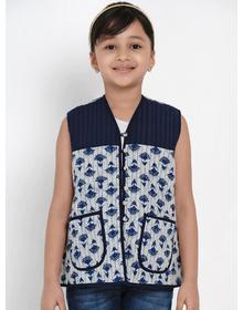 Bitiya by Bhama Girls Blue Printed Tailored Jacket