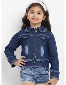 Bitiya by Bhama Girls Blue Solid Lightweight Jacket