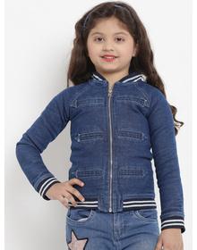 Bitiya by Bhama Girls Blue Striped Lightweight Jacket