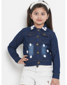 Bitiya by Bhama Girls Blue Solid Lightweight Denim Jacket