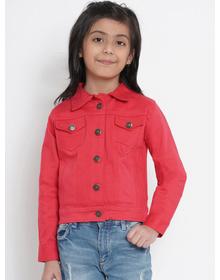 Bitiya by Bhama Girls Coral Red Solid Denim Jacket