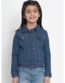 Bitiya by Bhama Girls Blue Solid Denim Jacket