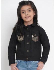 Bitiya by Bhama Girls Black Solid Denim Jacket