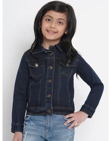 Bitiya by Bhama Girls Navy Blue Solid Denim Jacket