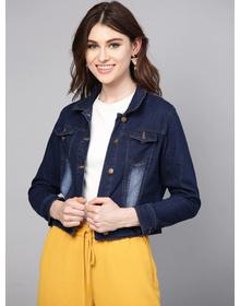 Bhama Couture Women Navy Blue Washed Denim Jacket