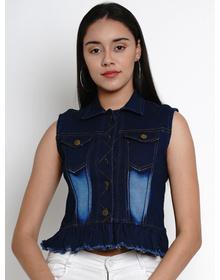 Bhama Couture Women Blue Solid Lightweight Crop Denim Jacket