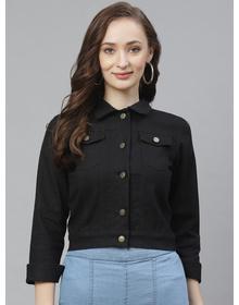 Bhama Couture Women Black Embroidered Back Denim Jacket