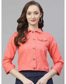 Bhama Couture Women Peach-Coloured Solid Lightweight Denim Jacket
