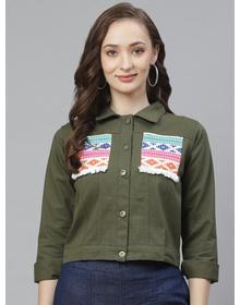 Bhama Couture Women Olive Green Solid Lightweight Denim Jacket