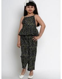 Bitiya by Bhama Girls Navy Blue & Green Printed Basic Jumpsuit
