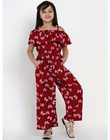 Bitiya by Bhama Girls Maroon & White Printed Basic Jumpsuit