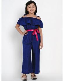 Bitiya by Bhama Girls Blue Self Design Basic Jumpsuit