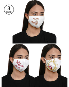 Bhama Couture Women Pack Of 3 Reusable 4-Ply Printed Cloth Mask