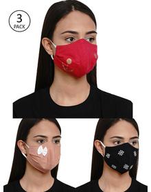 Bhama Couture Women 3 Pcs Reusable 4Ply Reusable Printed Cloth Mask