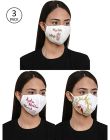 Bhama Couture Women 3 Pcs Embroidered 4-Ply Reusable Cloth Masks