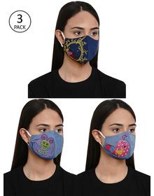 Bhama Couture Women 3 Pcs Reusable 4Ply Reusable Printed Cloth Masks