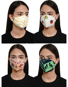 Bhama Couture Unisex Pack Of 4 4-Ply Reusable Cloth Mask