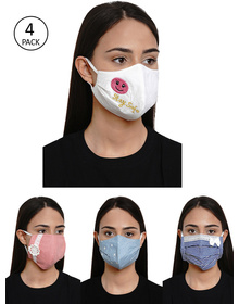 Bhama Couture Women 4 Pcs Embroidered 4-Ply Reusable Cloth Masks