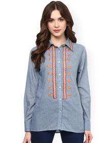 Bhama Couture Women Blue Nancy Regular Fit Casual Shirt